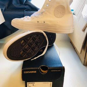 BRAND NEW All White Converse with box.